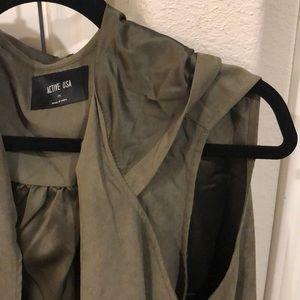 Olive green silky vest